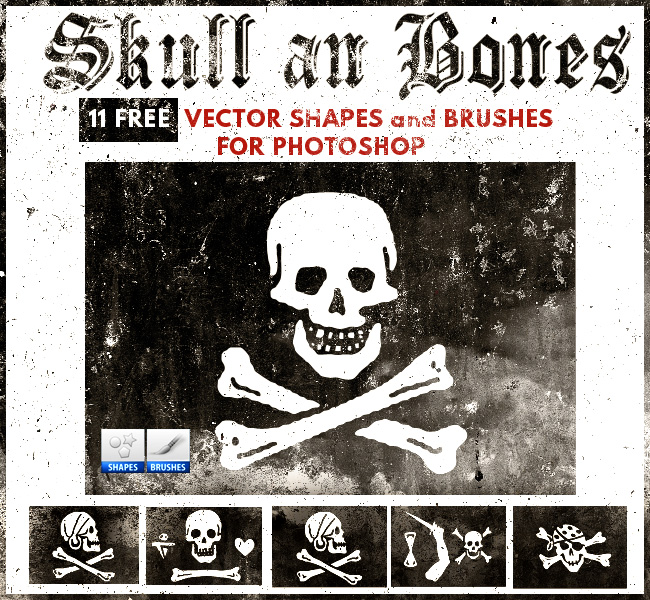 Skull and Bones Brushes and Vector for Photoshop PSDDude