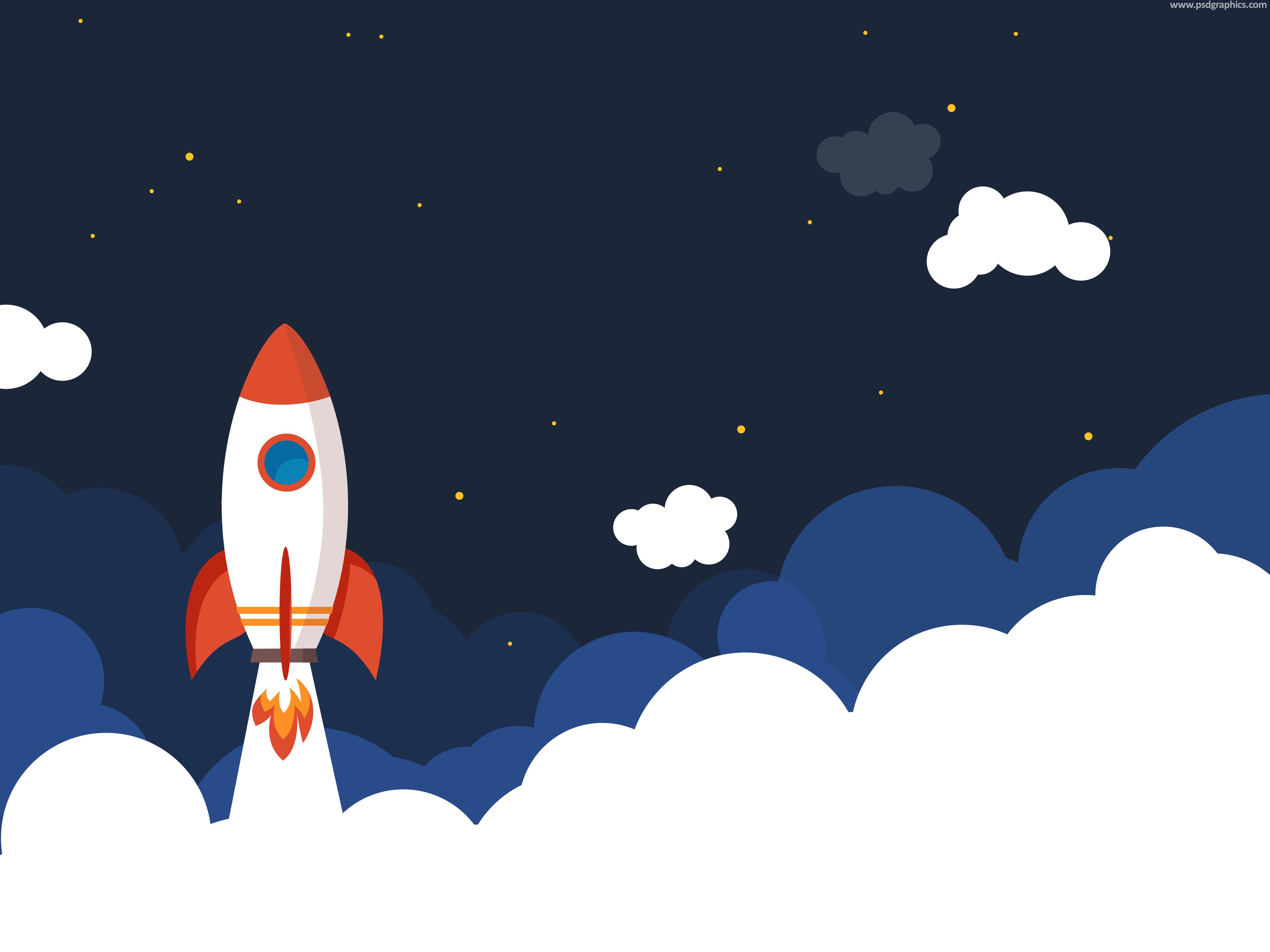 Night Sky 3d Wallpaper Rocket Launch Illustration Psd Psdgraphics