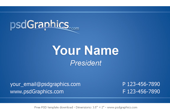 Blue business card template PSDGraphics - business card sample