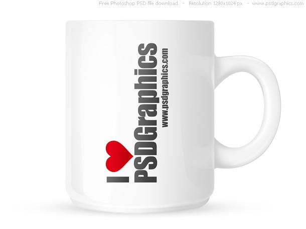PSD white coffee mug PSDGraphics
