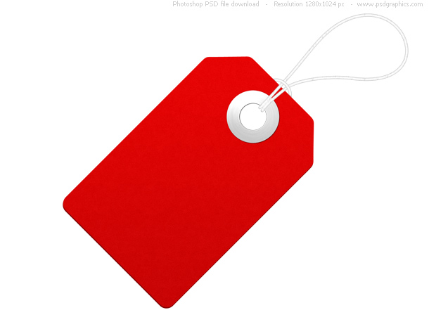 Blank paper label, red price tag PSDGraphics - sale tag template