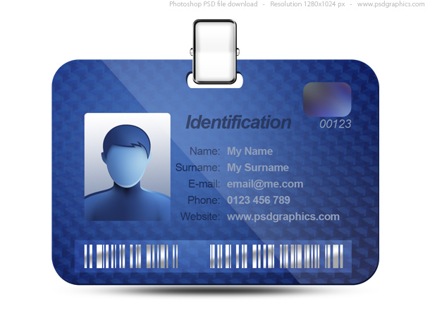 Name tag icon, blue identification card (PSD) PSDGraphics