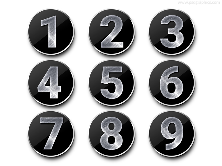 Metal numbers template (PSD) PSDGraphics - number template