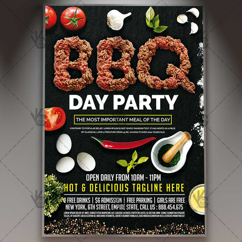 BBQ Day Party \u2013 Premium Flyer PSD Template