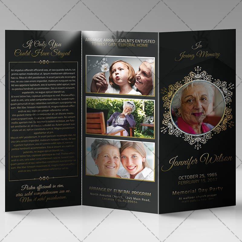 Memorial Program - Premium Tri-Fold Brochure PSD Template - memorial program