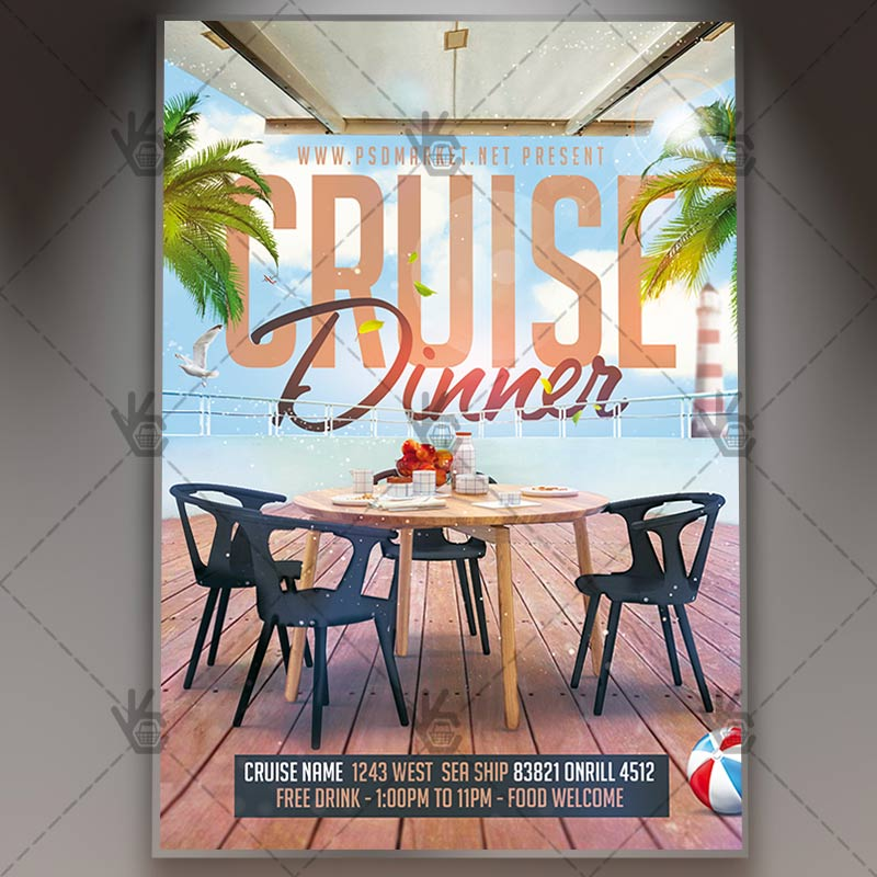 Cruise Dinner - Travel Flyer PSD Template PSDmarket - Dinner Flyer