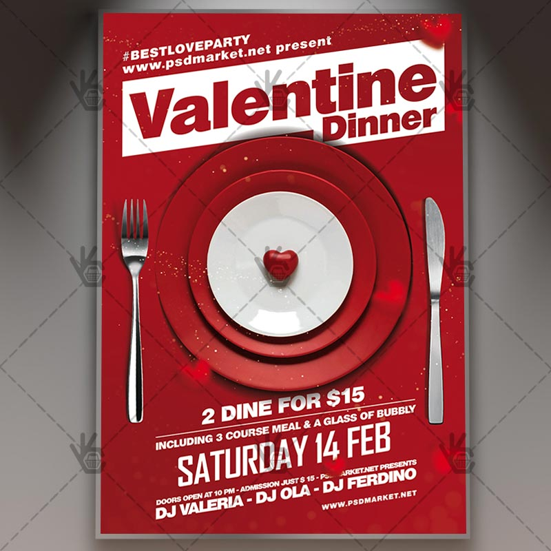 Valentine Dinner - Club Flyer PSD Template PSDmarket