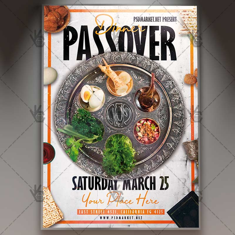 Passover Dinner Flyer - Islamic PSD Template PSDmarket - Dinner Flyer