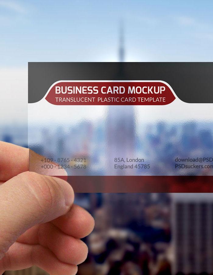 Translucent Plastic Business Card MockUp