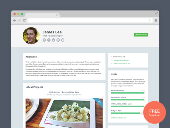 Developer - Free HTML5 and CSS3 Website Template for Developers