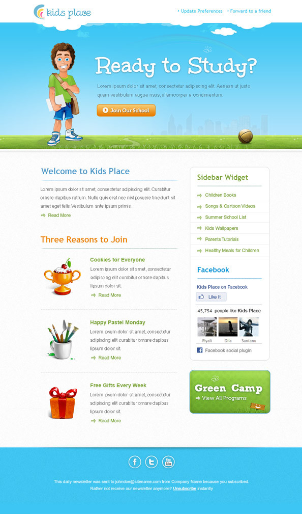 Email Newsletter Template Kids Email Newsletter Template Best Email