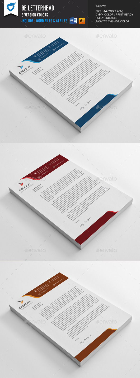 12 Free Letterhead Templates in PSD MS Word and PDF Format – Free Business Letterhead Templates for Word