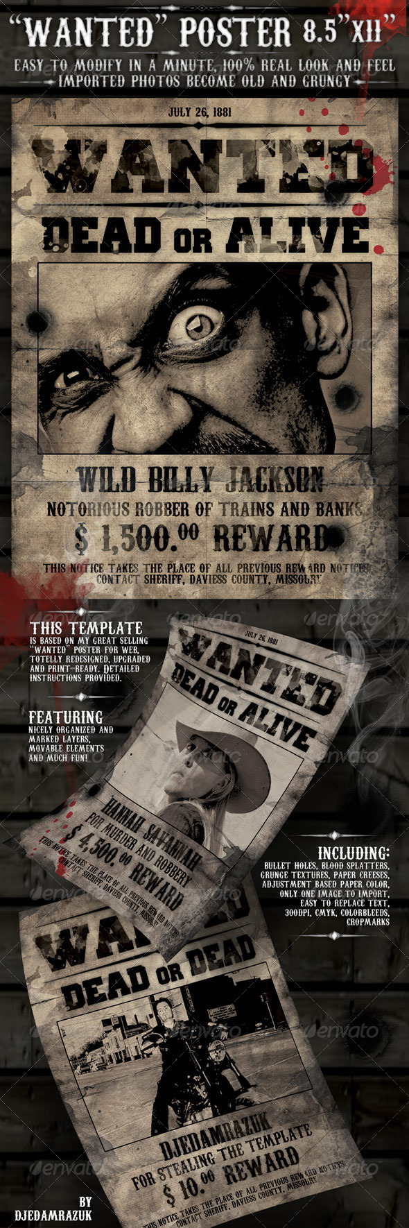 15 Best Wanted Poster Templates PSD Download – Wanted Poster Template Download