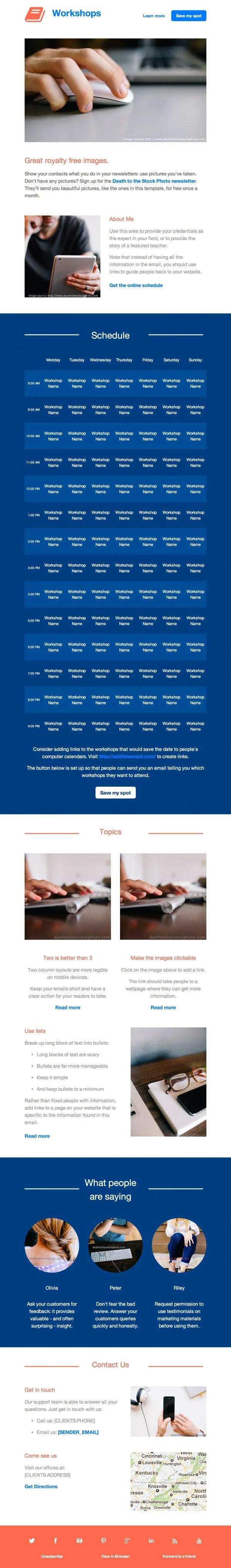 Workshops Email Newsletter Template
