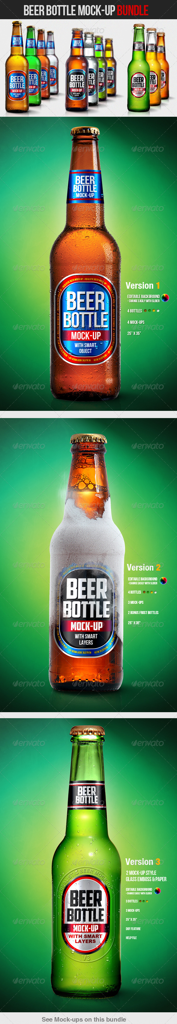 Beer Bottle Mockup Bundle