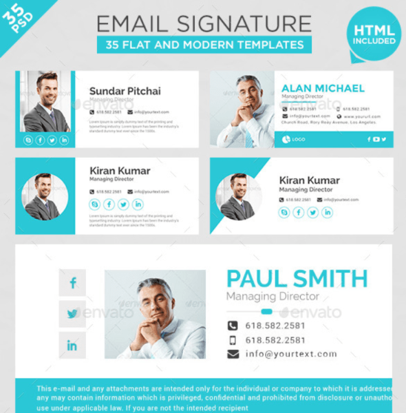 20 best email signature templates psd html download for Company email signature template
