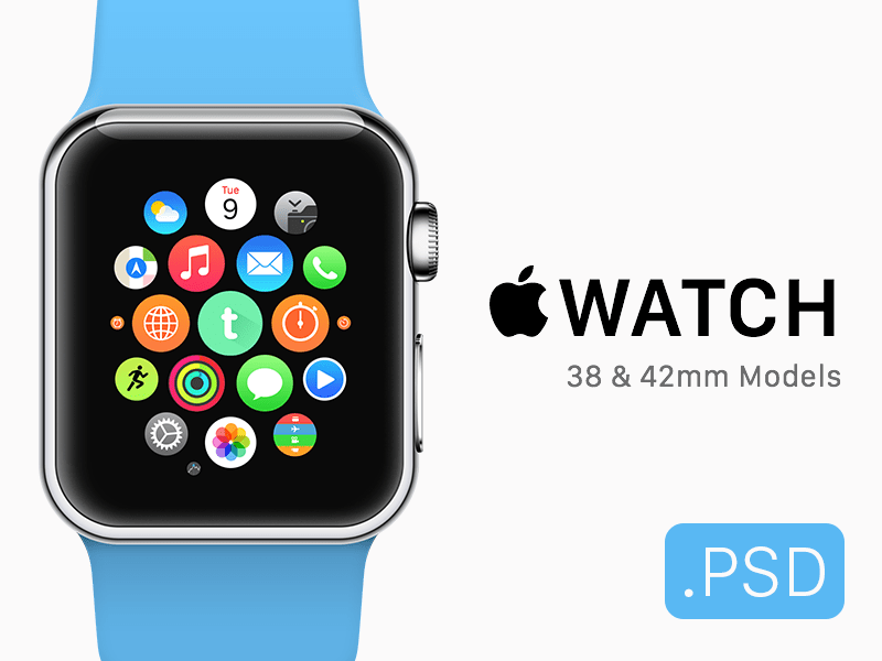 Free Apple Watch & Icon Mockup PSD