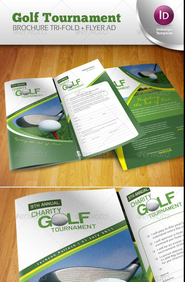 Tri-Fold Golf Tournament Brochure Template