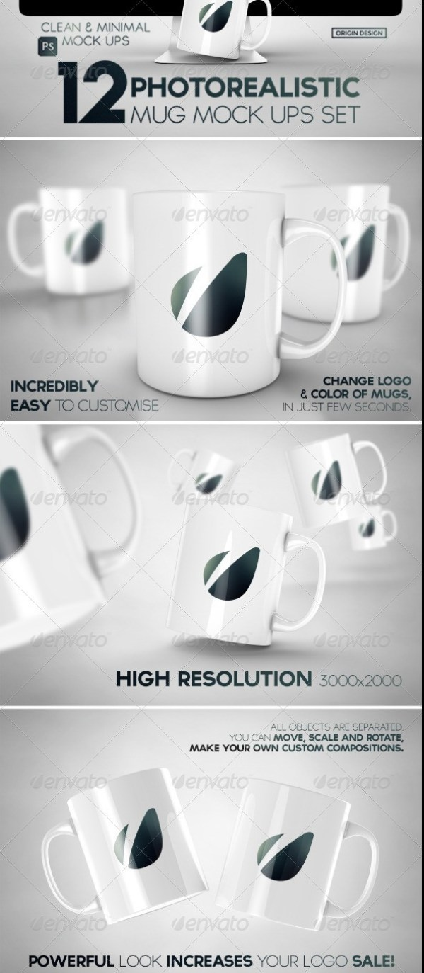 12 Photorealistic Mug Mockups Set