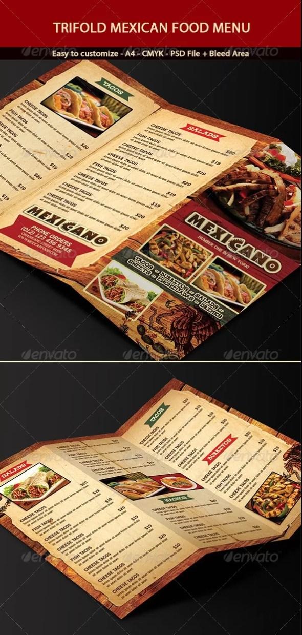 Tri-Fold Mexican Menu