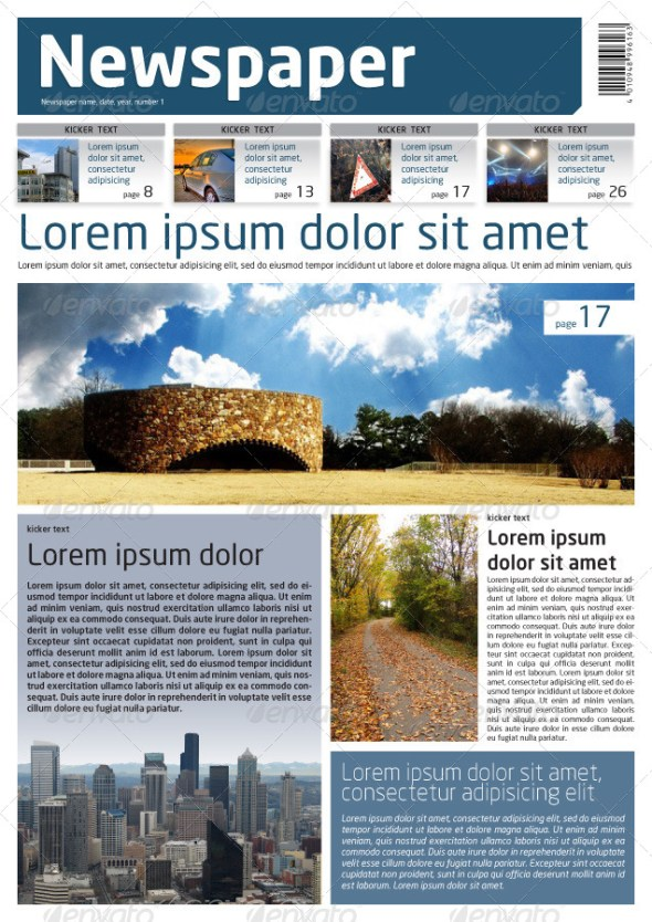 Newspaper Template A4 and A3 Format 10 Pages