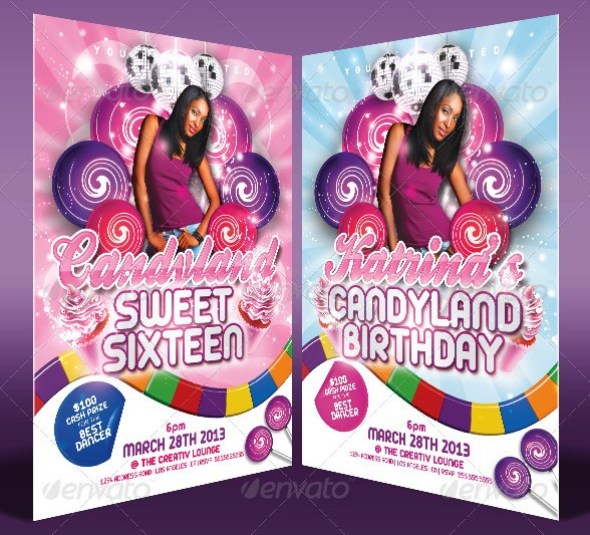 Candy Land Birthday Invitation Templates