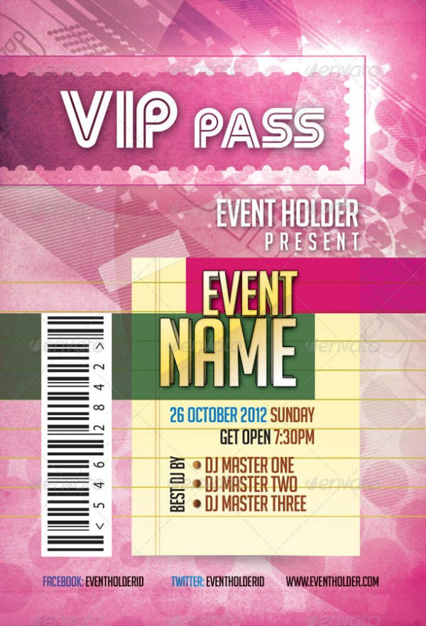 46 Print Ready Ticket Templates PSD for Various Types of Events – Free Vip Pass Template