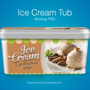 Free Ice Cream Tub Packaging Mockup
