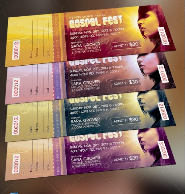 46 Print Ready Ticket Templates PSD for Various Types of Events – Concert Ticket Template Free Download
