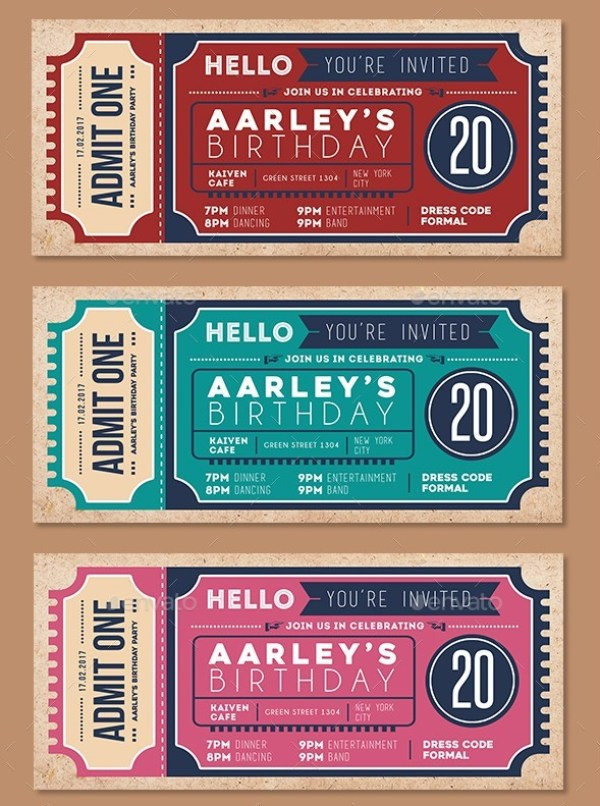 46 Print Ready Ticket Templates PSD for Various Types of Events – Prom Ticket Template