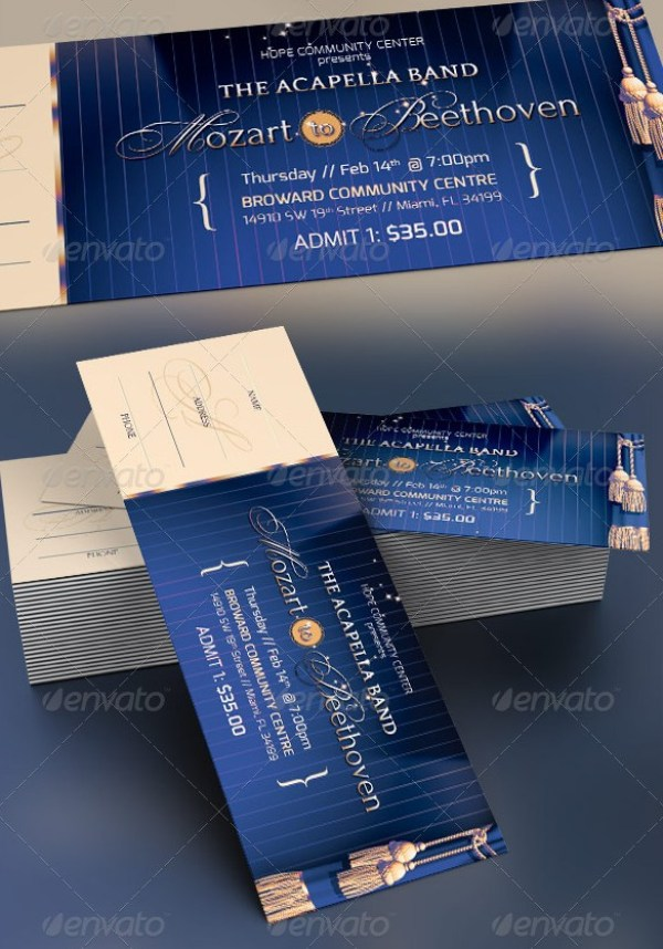 46 Print Ready Ticket Templates PSD for Various Types of Events – Banquet Ticket Template