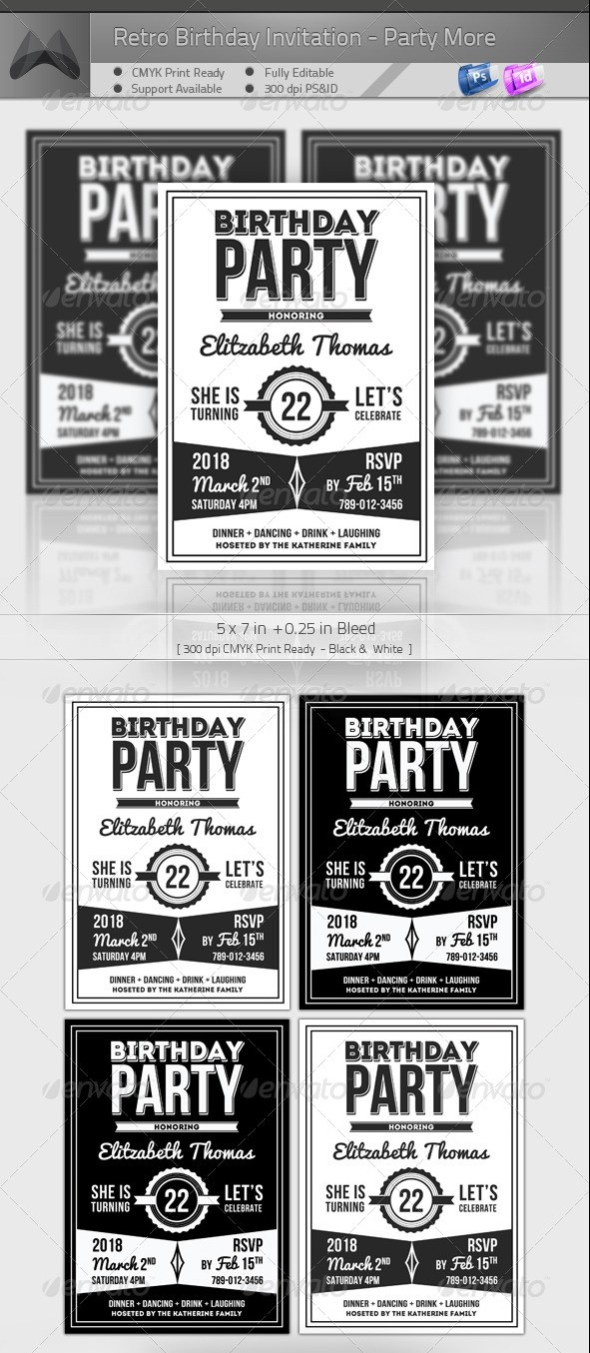 Retro Birthday Invitation - Party More