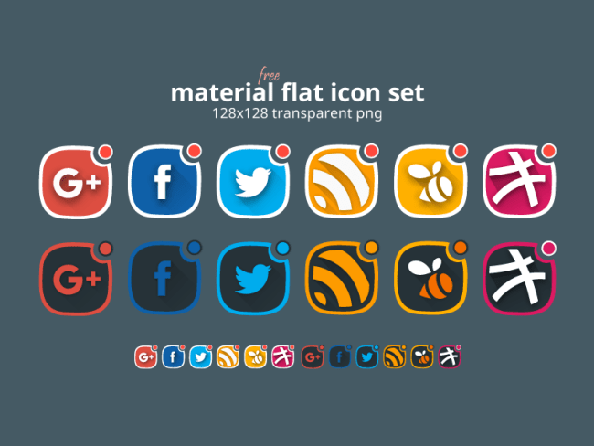 Free Material Flat Social Icon Set