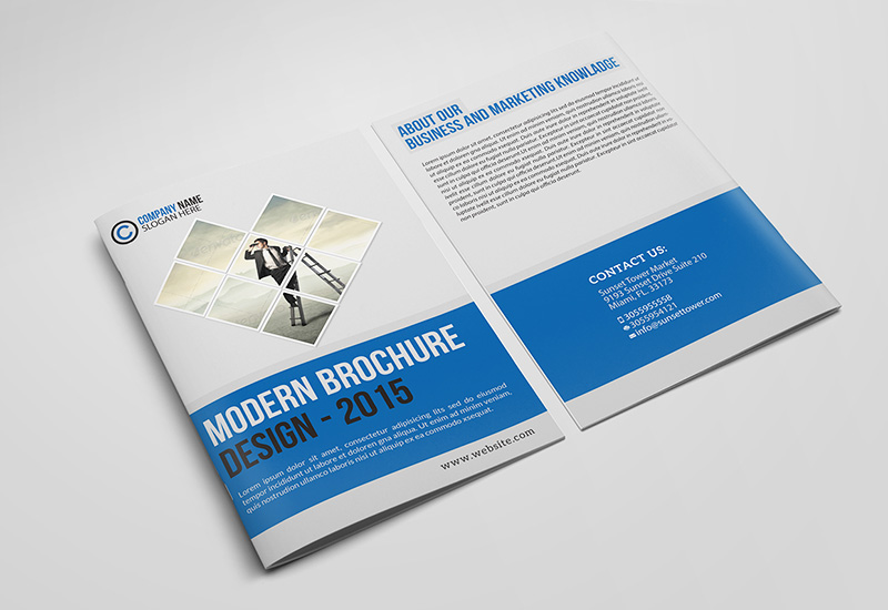 best free corporate bifold brochure psd design
