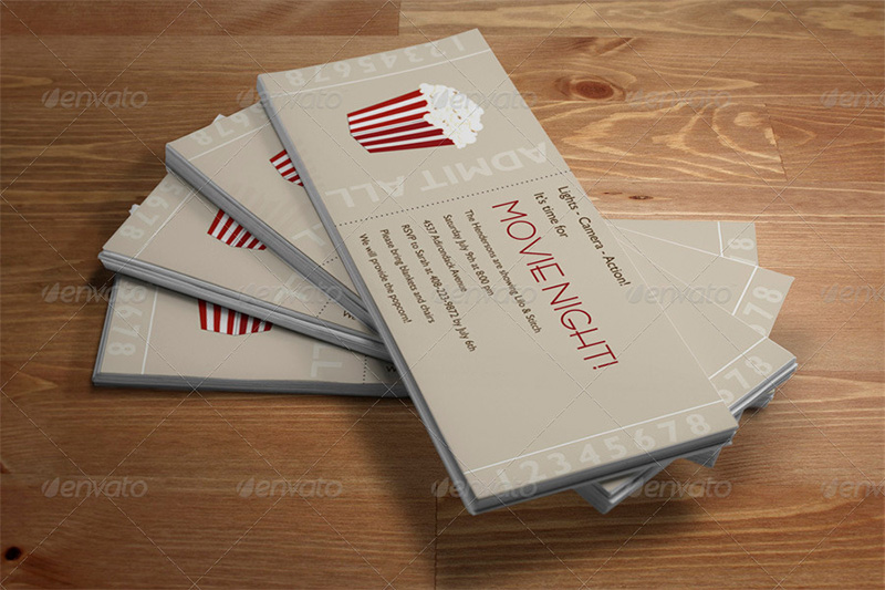 best premium movie tickets psd template mockup design
