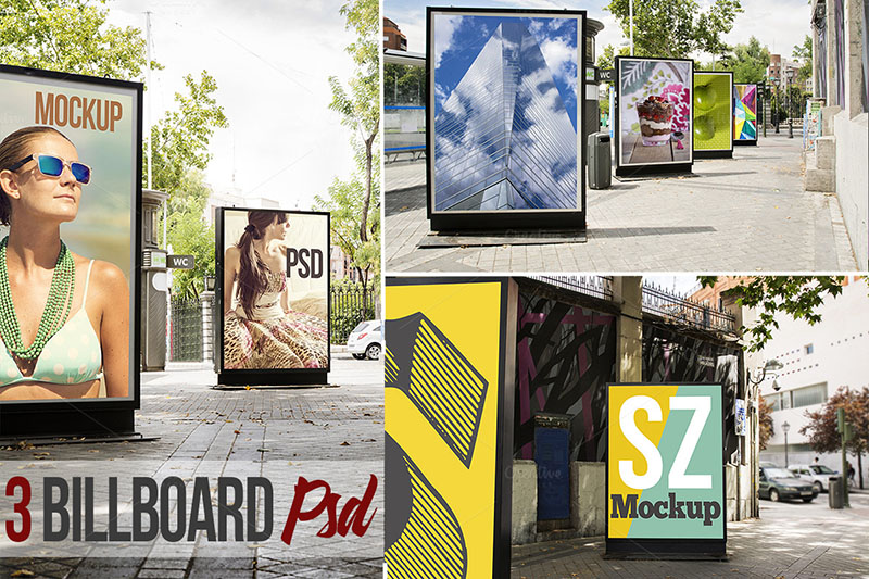 premium outdoor advertising city roadside billboard mockups psd