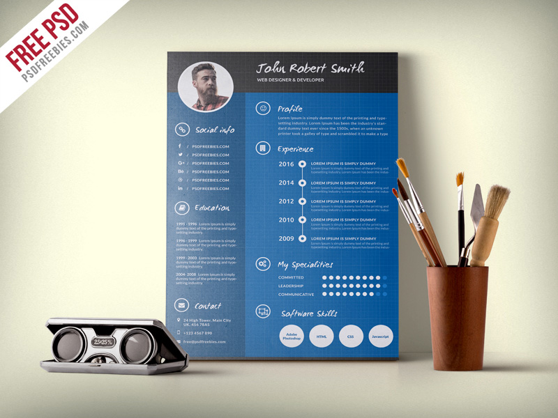 free download unique PSD resume templates