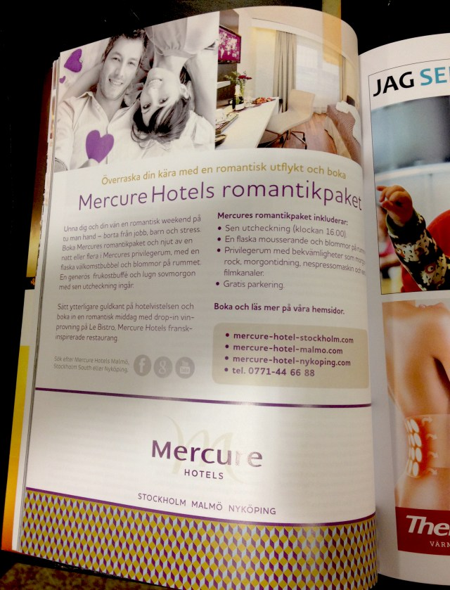 Full page to travel magazine Bus about Mercure Hotel Romance Package.