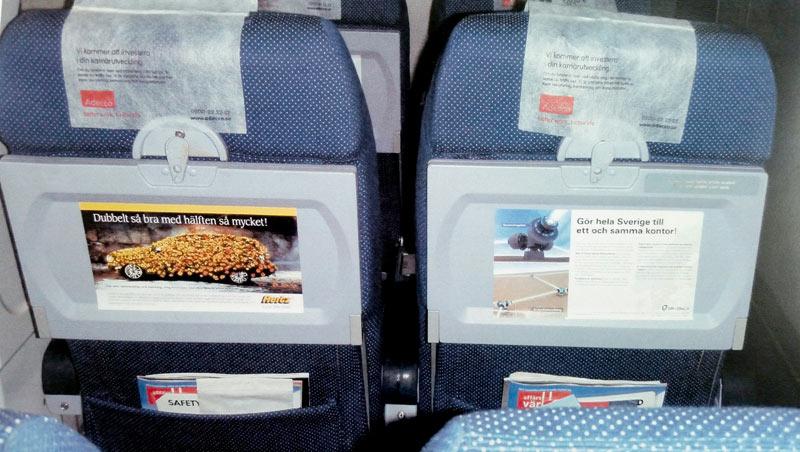 Annons för flygplansstolar.