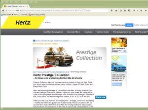 Landningssida på Hertz.se