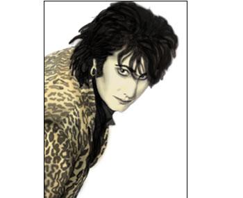 Avtecknat porträtt av Guzz i glambandet Plastico
