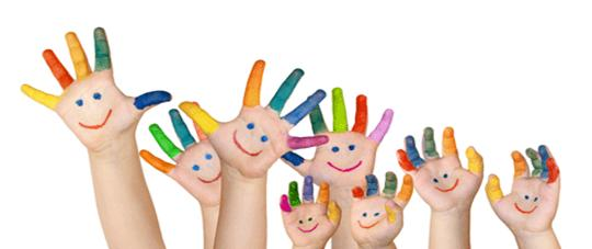 imagen de manos de niños pintadas