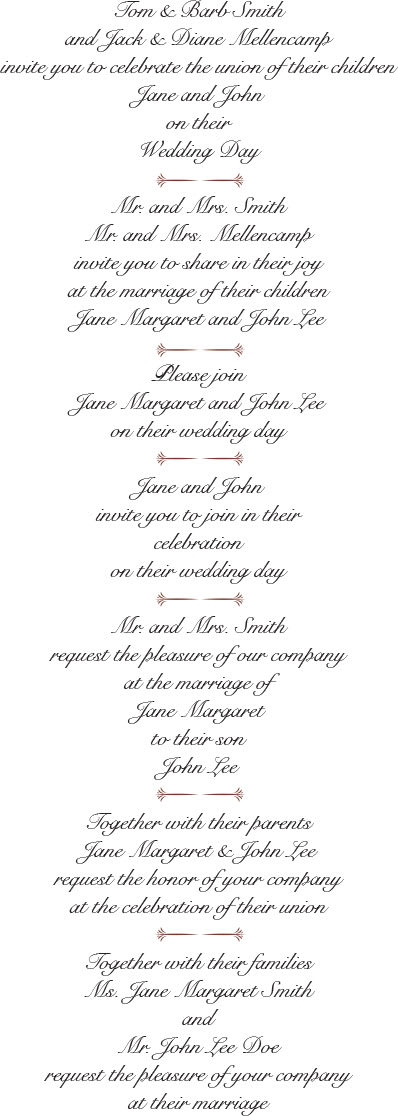 Best Wedding Invitation Wording Examples