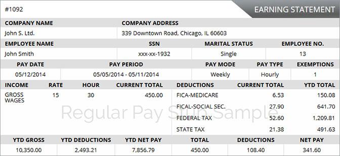 Online Pay Stub - free paystub online