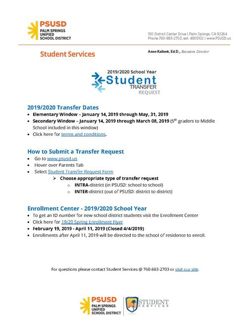 Elementary Student Transfer Window is Open Through May 31