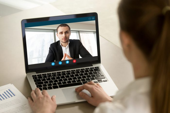 chatting on a webcam through two-way video