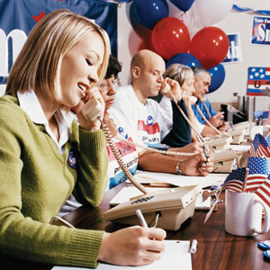 This is a photo of people making phone calls for a political campaign.