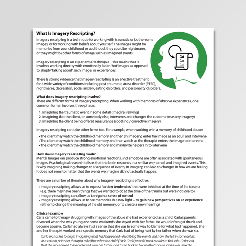 Imagery CBT Worksheets  Handouts Psychology Tools