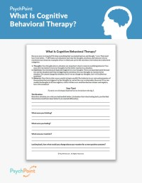 What Is Cognitive Behavioral Therapy? Worksheet | PsychPoint