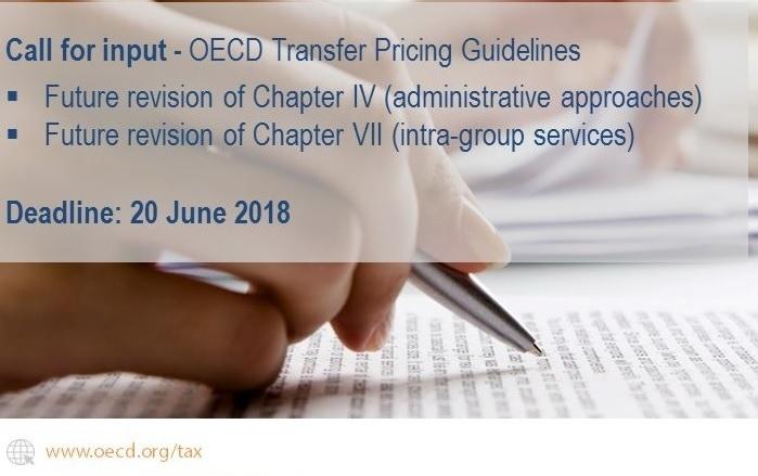 La OCDE abre una convocatoria pública para recibir comentarios sobre los capítulo IV y VII de las Guías de Precios de Transferencia